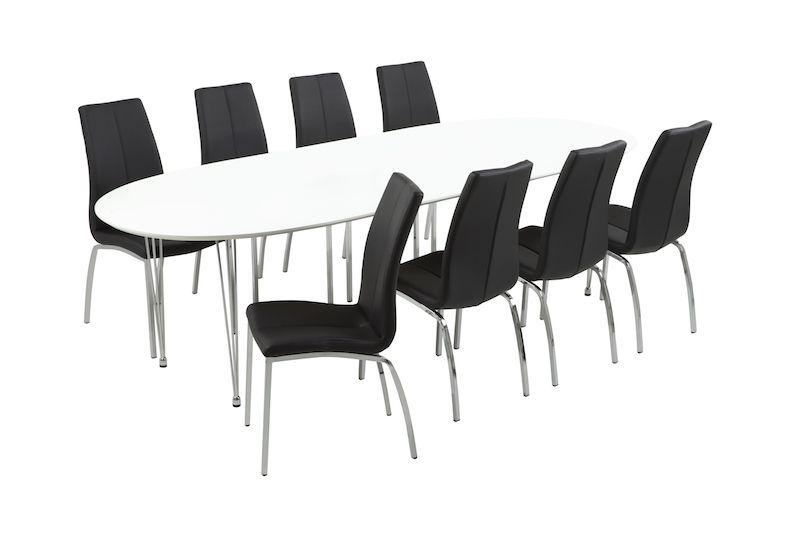 Luna Spisebord - Hvid - Hvidt spisebord med kromstel