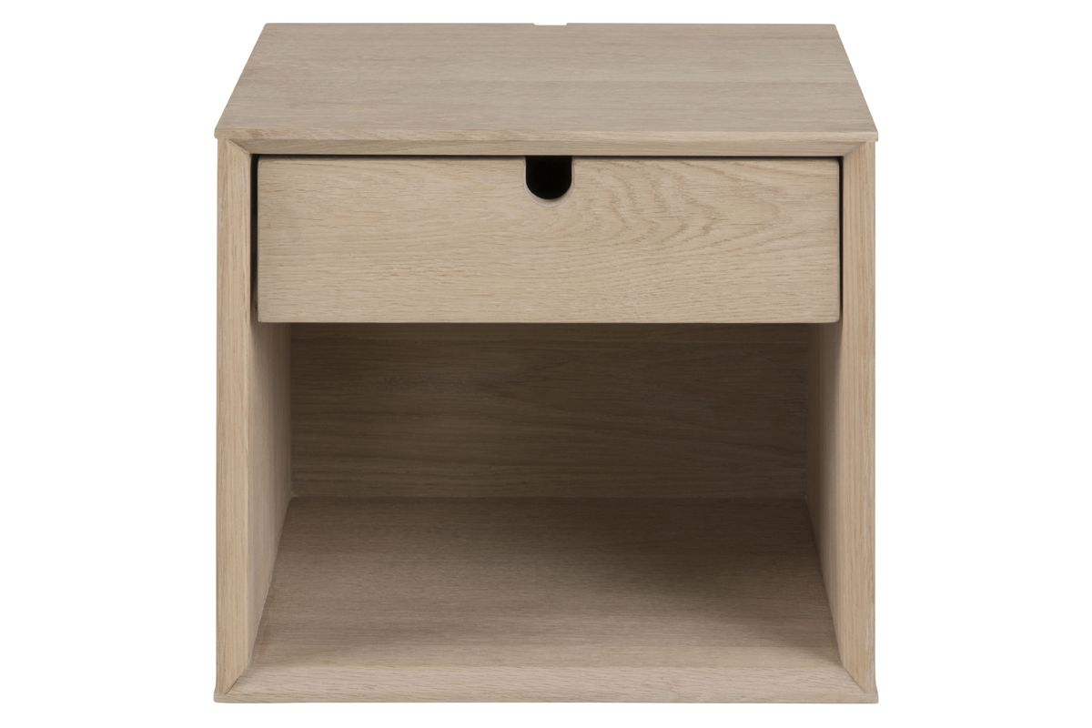 Lustra Sengebord m. 1 skuffe - Hvidpigmenteret finer