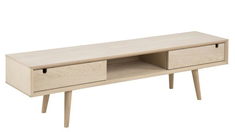 Lustra TV-bord med 2 låger - Finer