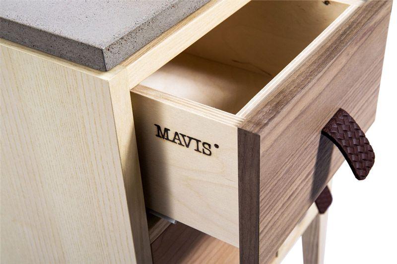 Mavis - Abisko Sengebord m/3 skuffer -Finér - Sengebord i blandet finer