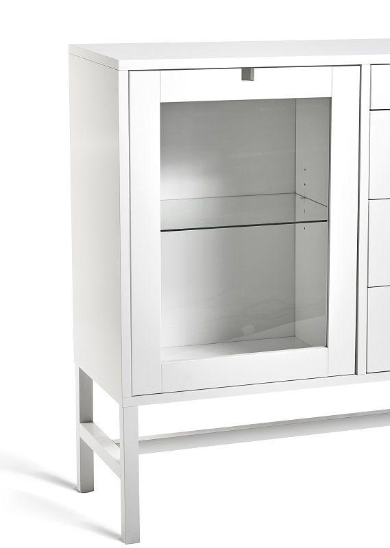 Mavis - Falsterbo Skænk - Hvid lak - Skænk med skuffer og glashylder