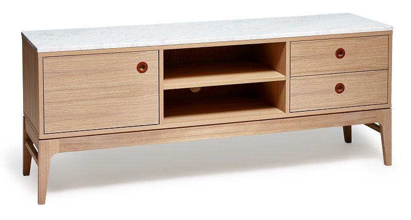 Mavis - Höllviken -Grå - Marmortop til TV-bord