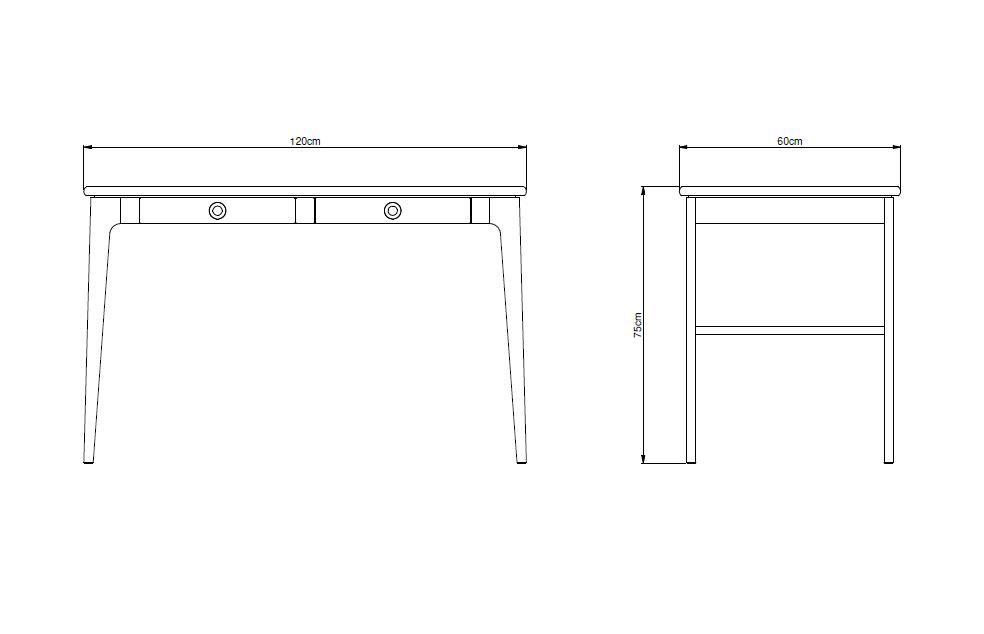 Mavis - Höllviken Skrivebord - Hvidpigmenteret - Skrivebord med to skuffer