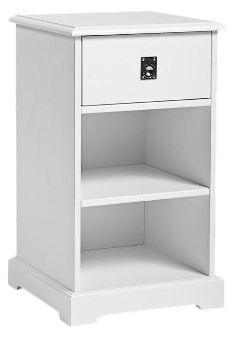 Smögen Sengebord - Sengebord fra Mavis i hvid m. skuffe og 2 hylder