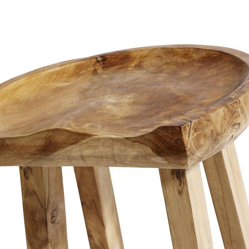 Muubs - Oval Barstol - Teakrod og genbrugs teak - Lys skammel i træ