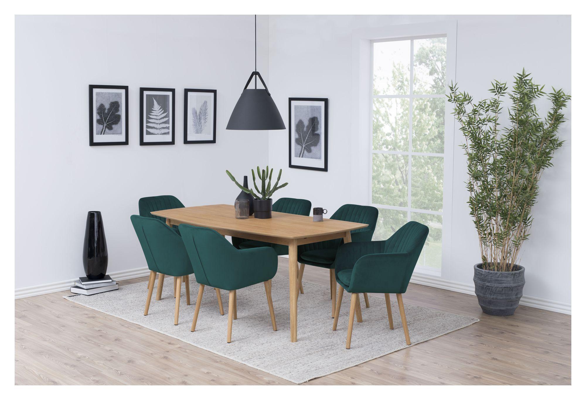 Mynte Spisebordsstol m/lodret syning - Flaskegrøn