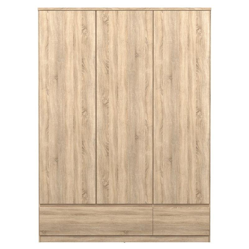 Naia Garderobeskab - Lys træ m/3 låger + 2 skuffer