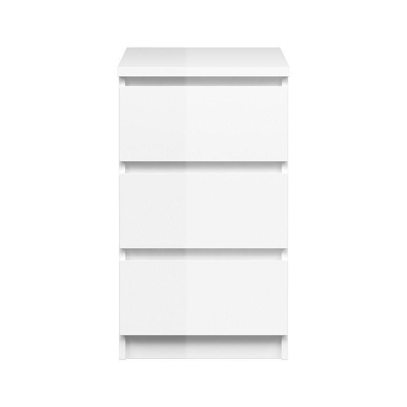 Naia Kommode - Hvid højglans - 3 skuffer høj/smal - Høj og smal kommode med 3 skuffer