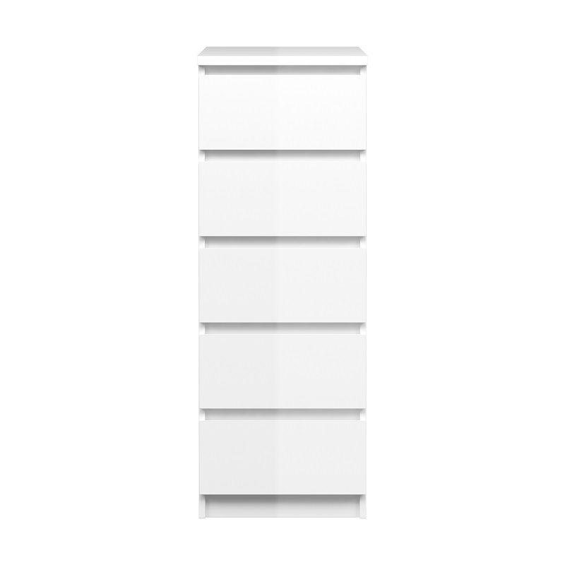 Naia Kommode - Hvid højglans - høj/smal - 5 skuffer - Smal kommode med 5 skuffer