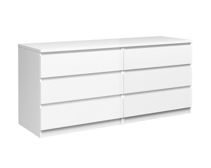 Naia Kommode - Hvid højglans m/6 skuffer - Kommode i hvid højglans