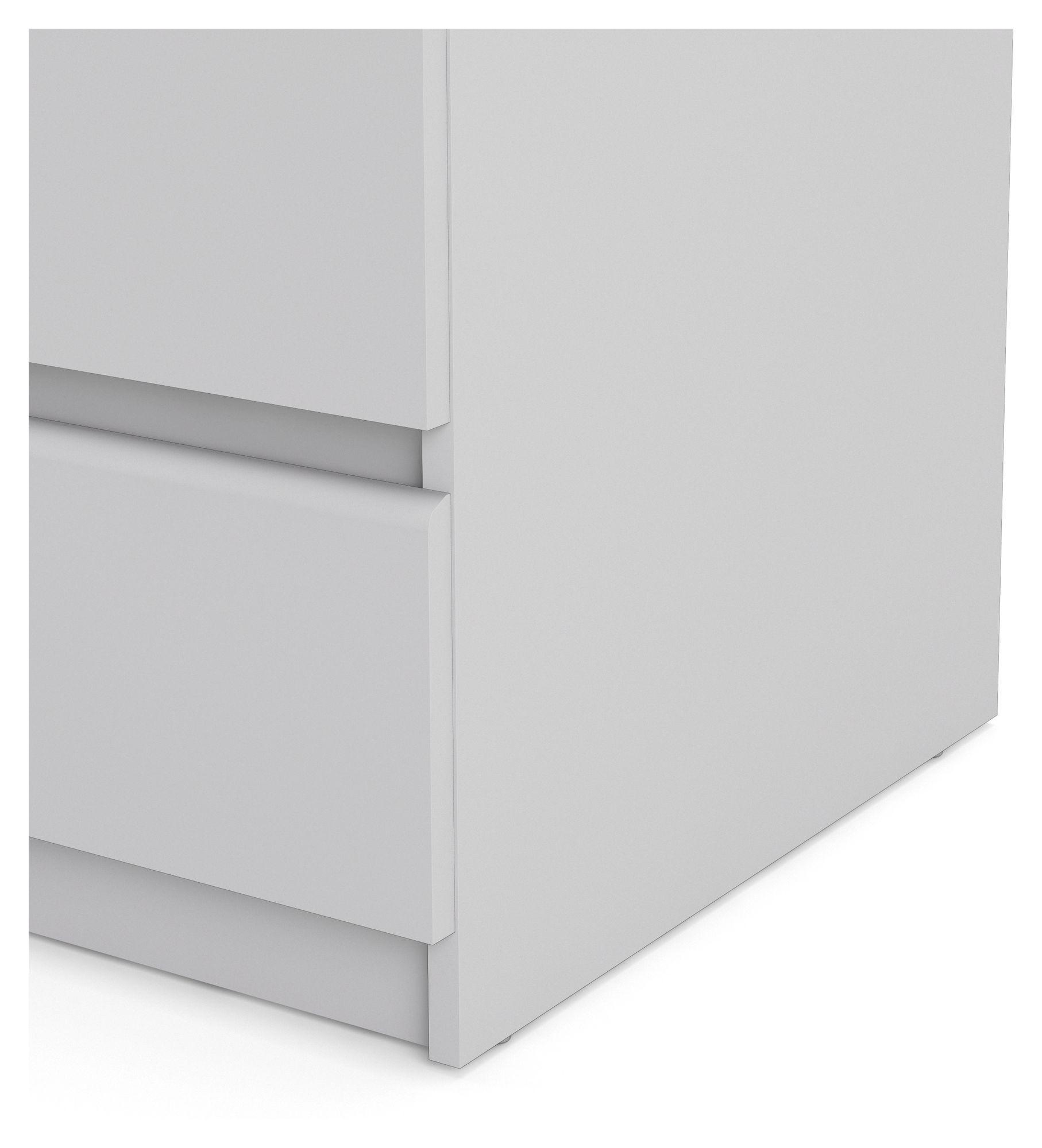 Naia Kommode - Hvid m/5 skuffer - Hvid kommode med grebsfri skuffer