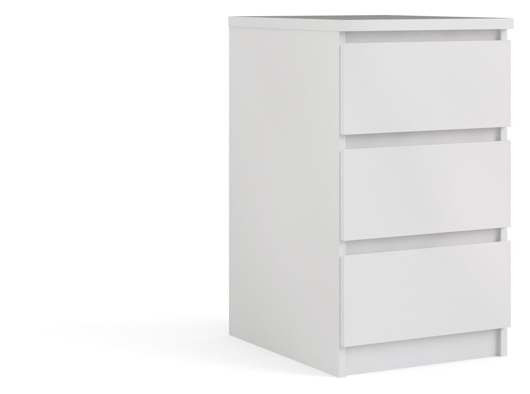 Naia Kommode - Hvid m/3 skuffer B:40 - Lille hvid kommode med grebsfri skuffer