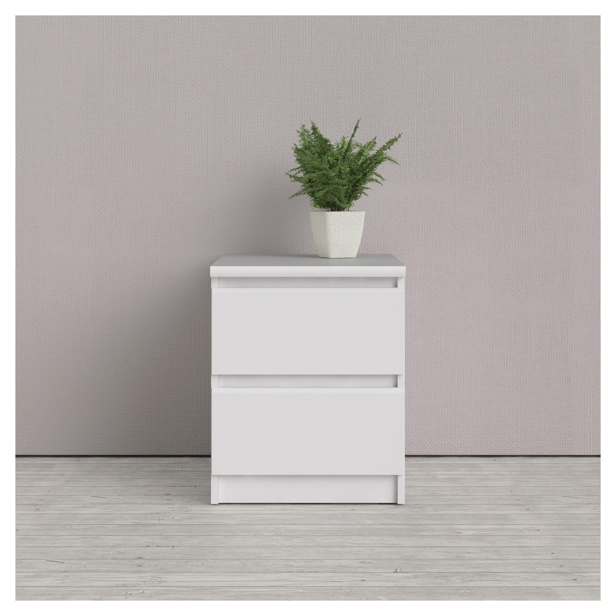 Naia Sengebord - Hvid - Grebsfri sengebord med 2 skuffer