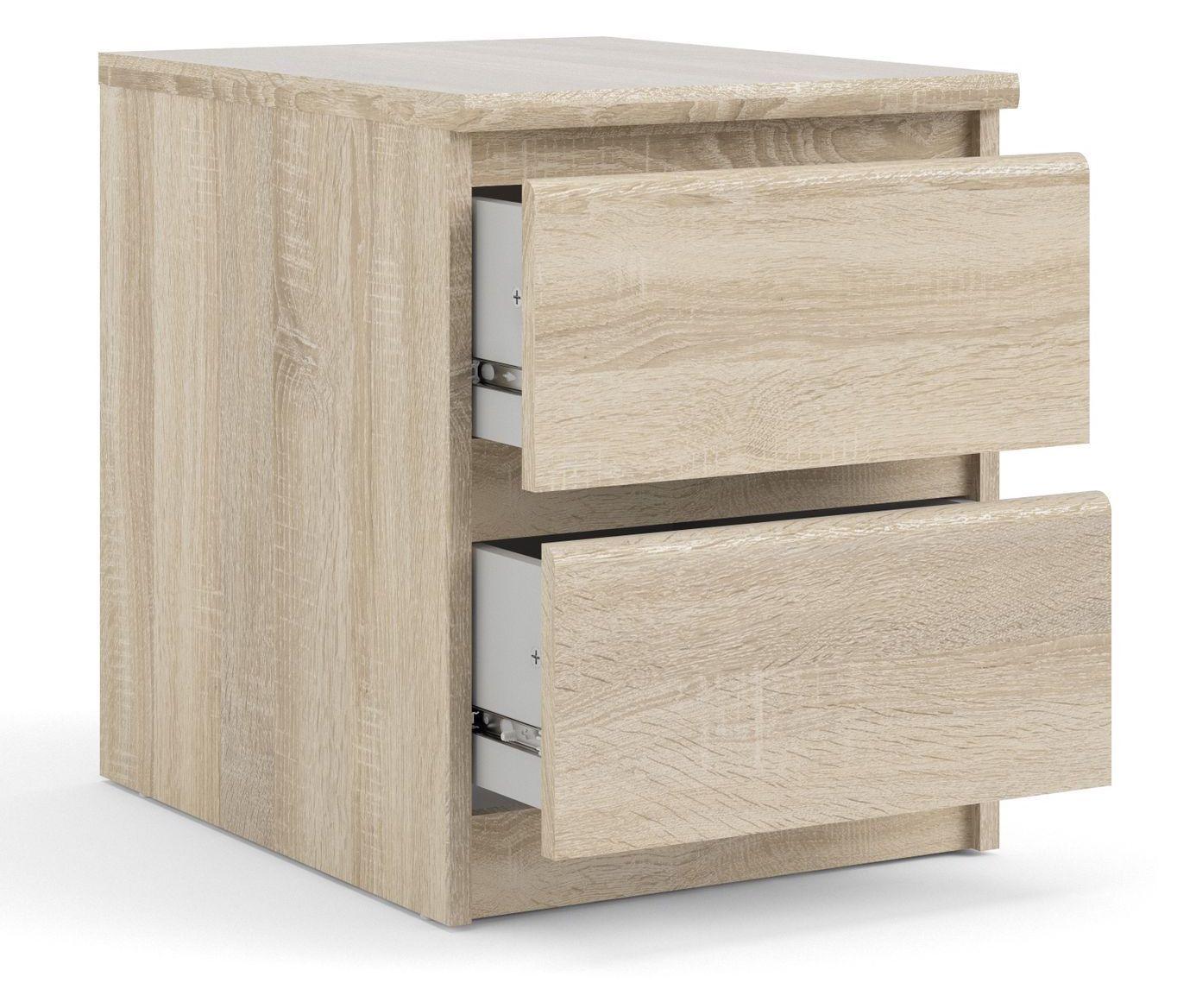 Naia Sengebord - Lys træ - Sengebord i egetræslook med skuffer
