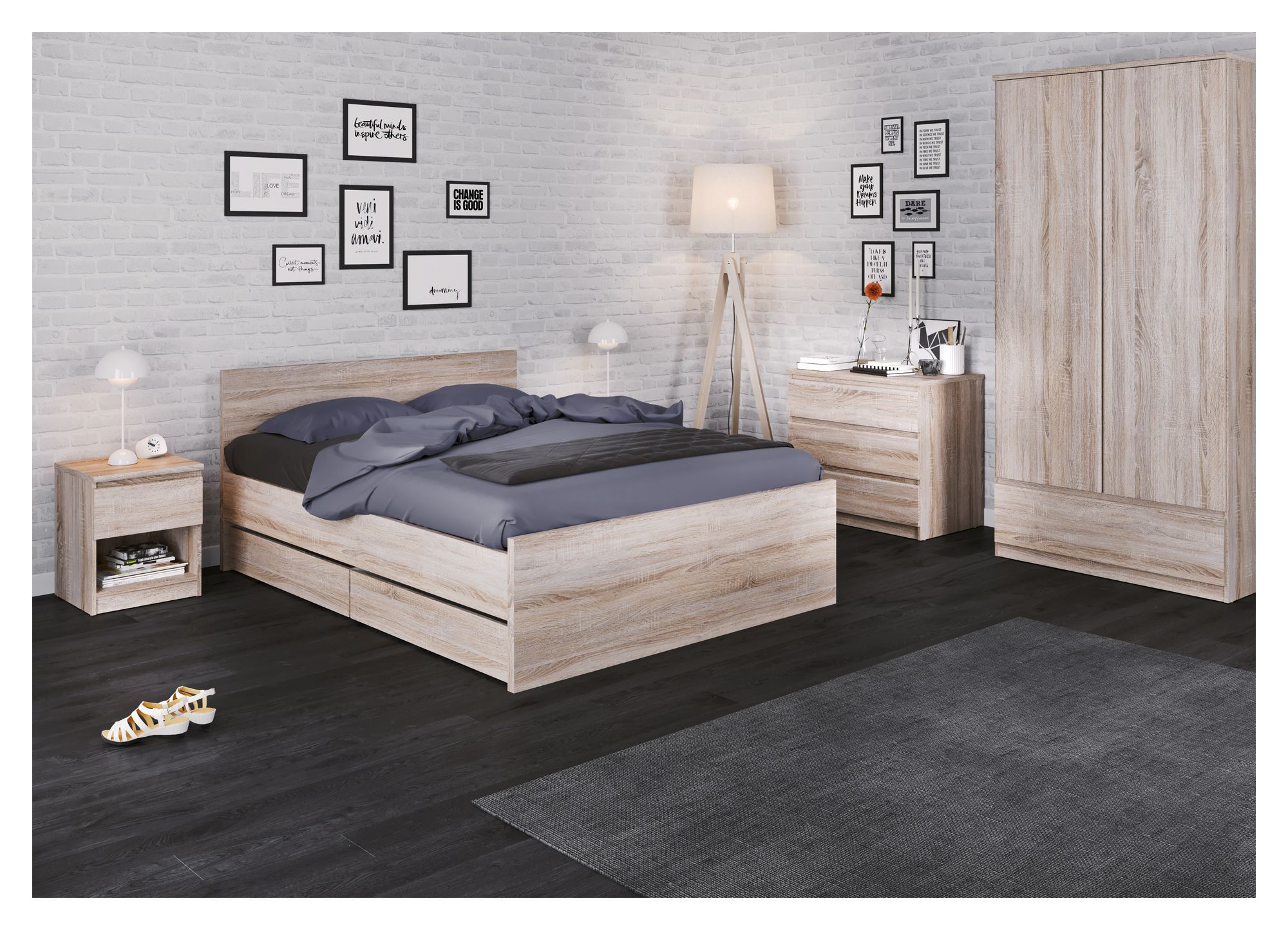 Naia Sengebord - Mørk træ - Sengebord i trøffelfarve m skuffe