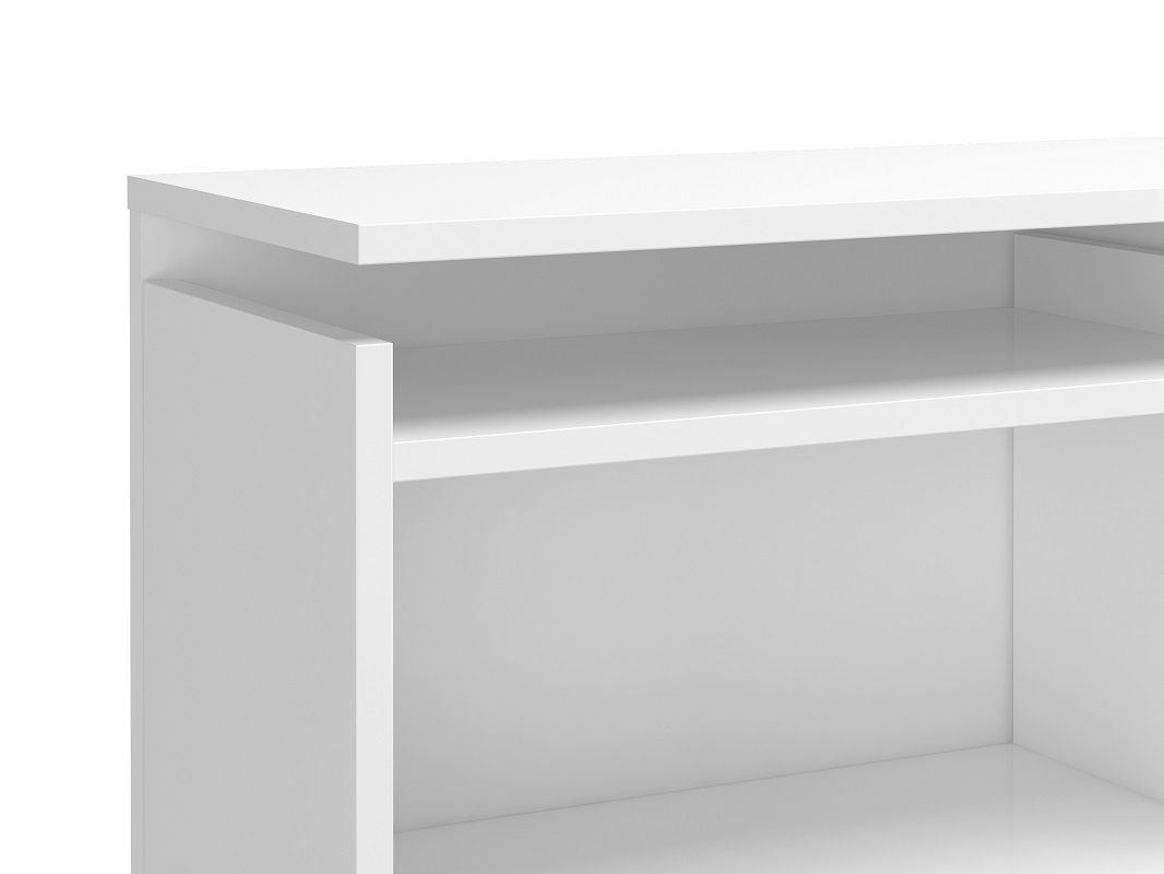 Naia Sengegavl - Hvid højglans m/opbevaring B:160 - 160 cm