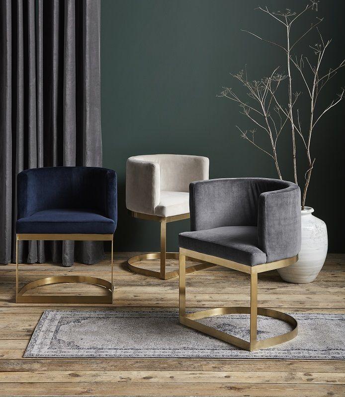 Nordal - Lounge Spisebordsstol - Blå velour - Spisebordsstol i blå