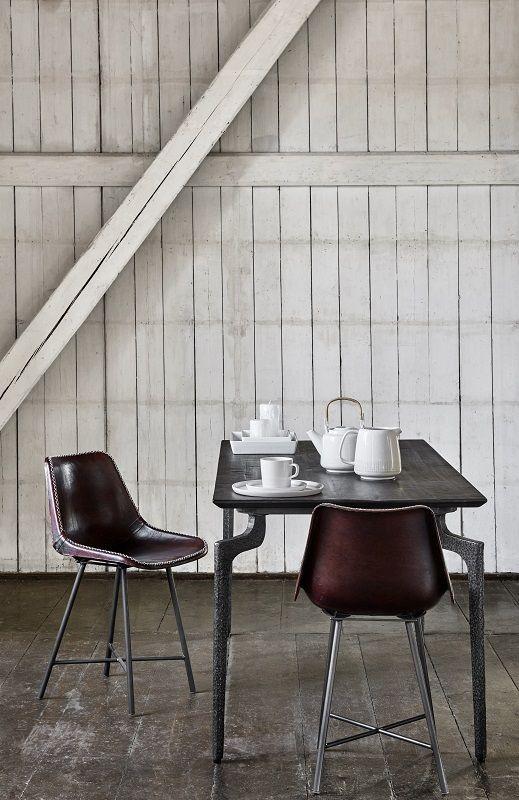Nordal - Spisebordsstol - Brunt læder - Mørkebrun Spisebordsstol