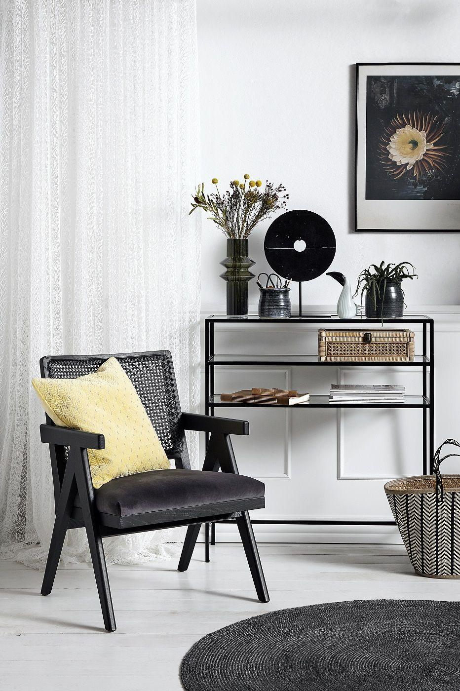 Nordal - Wickerwork Loungestol m/armlæn - Sort/Grå