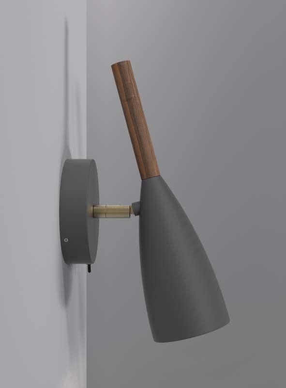 Nordlux DFTP Pure Væglampe - Grå - Væglampe i grå med træ detalje