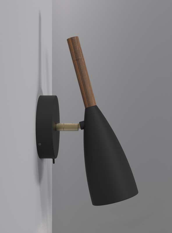 Nordlux DFTP Pure Væglampe - Sort - Væglampe i sort med træ detalje