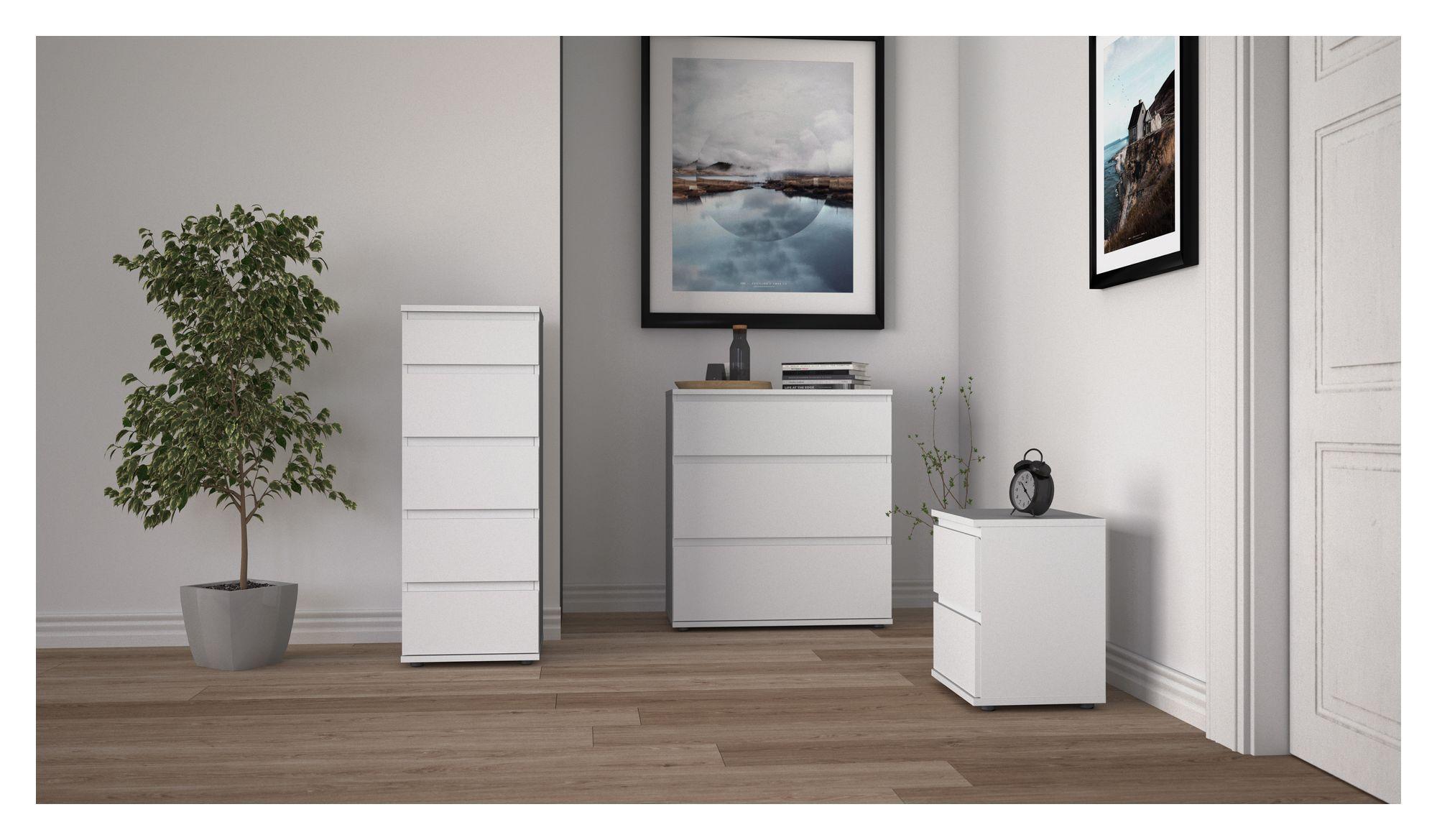 Nova Kommode - Hvid m/3 skuffer - Hvid kommode m. 3 skuffer