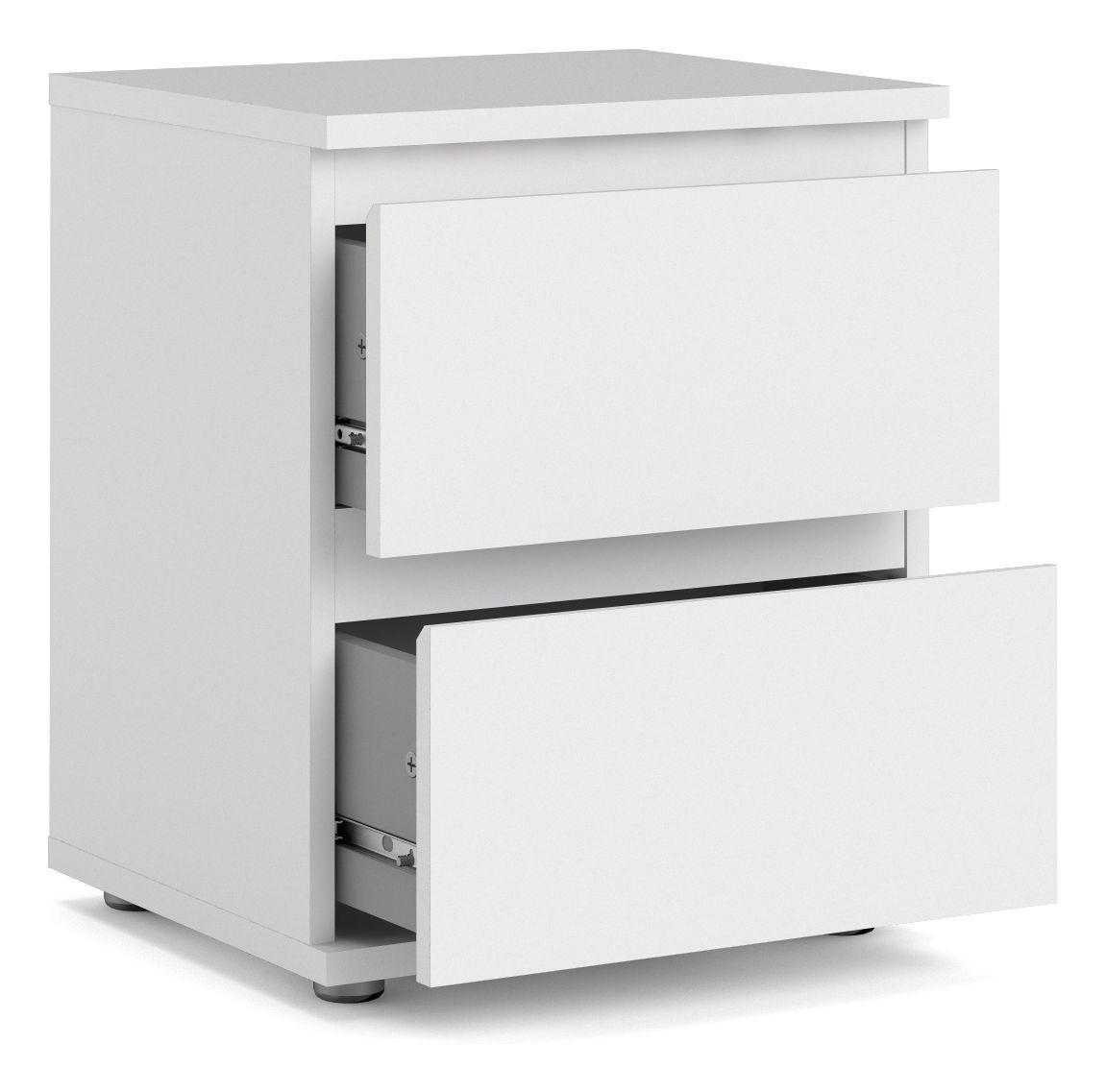 Nova Sengebord - Hvid - Hvidt sengebord m. 2 skuffer