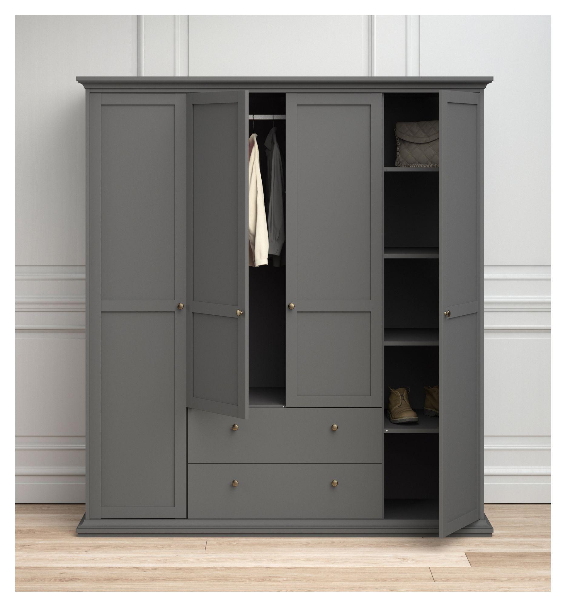 Paris Garderobeskab 4 låger + 2 skuffer - Mat grå