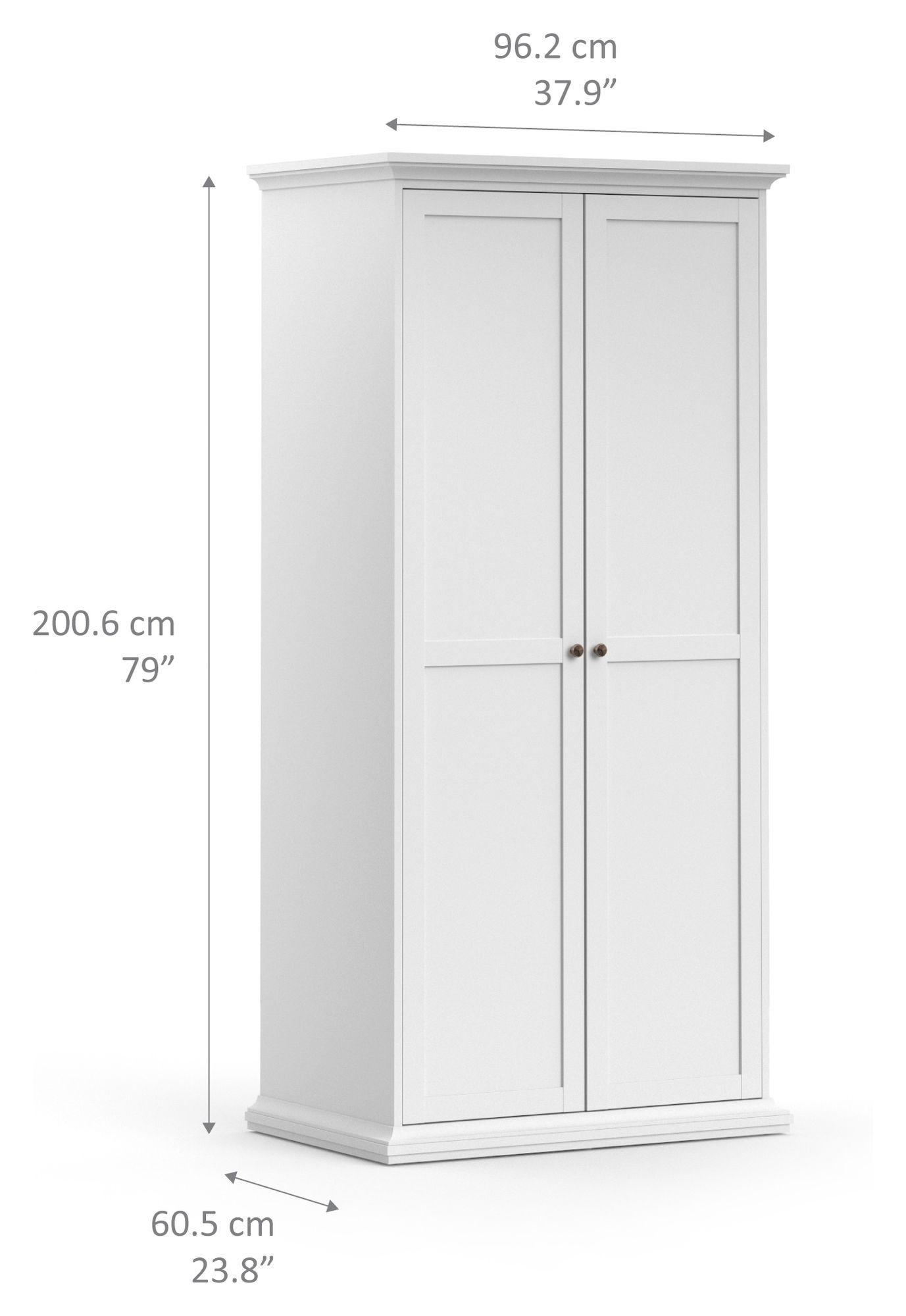 Paris Garderobeskab - Hvid B:96 - Garderobeskab med 2 låger i hvid