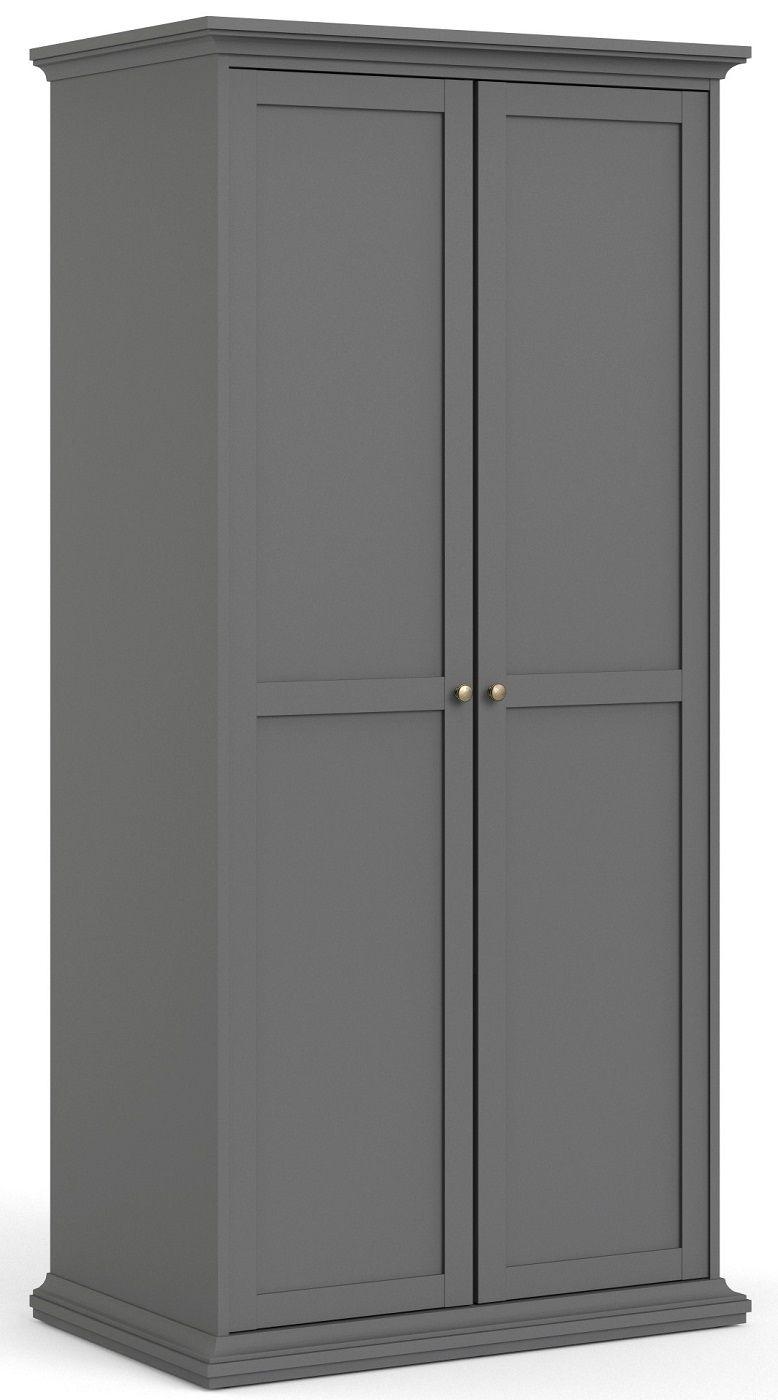 Paris Garderobeskab m. 2 låger - Mat grå