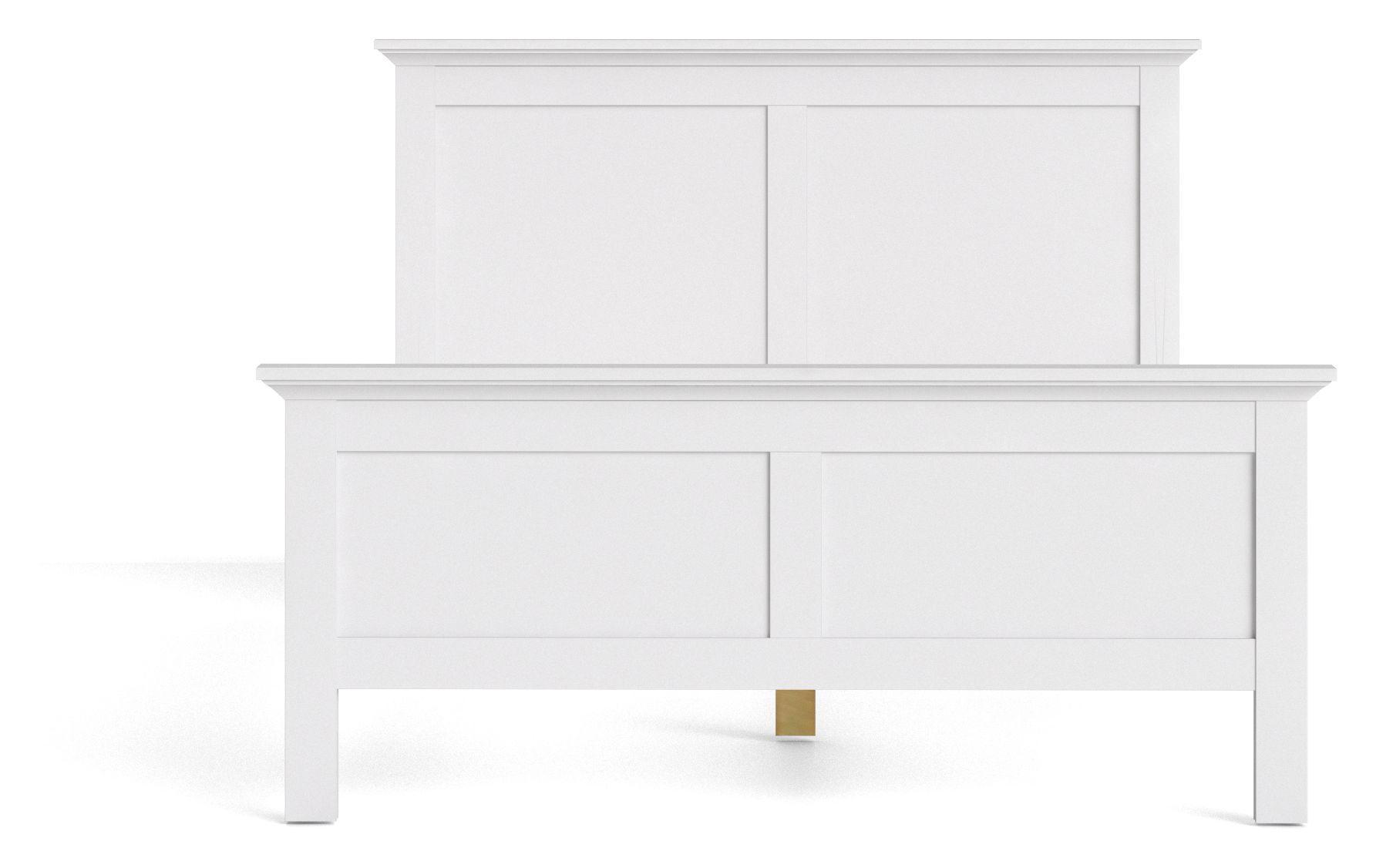 Paris seng - 140 cm - Hvid romantisk seng med lameller - 200x140 cm