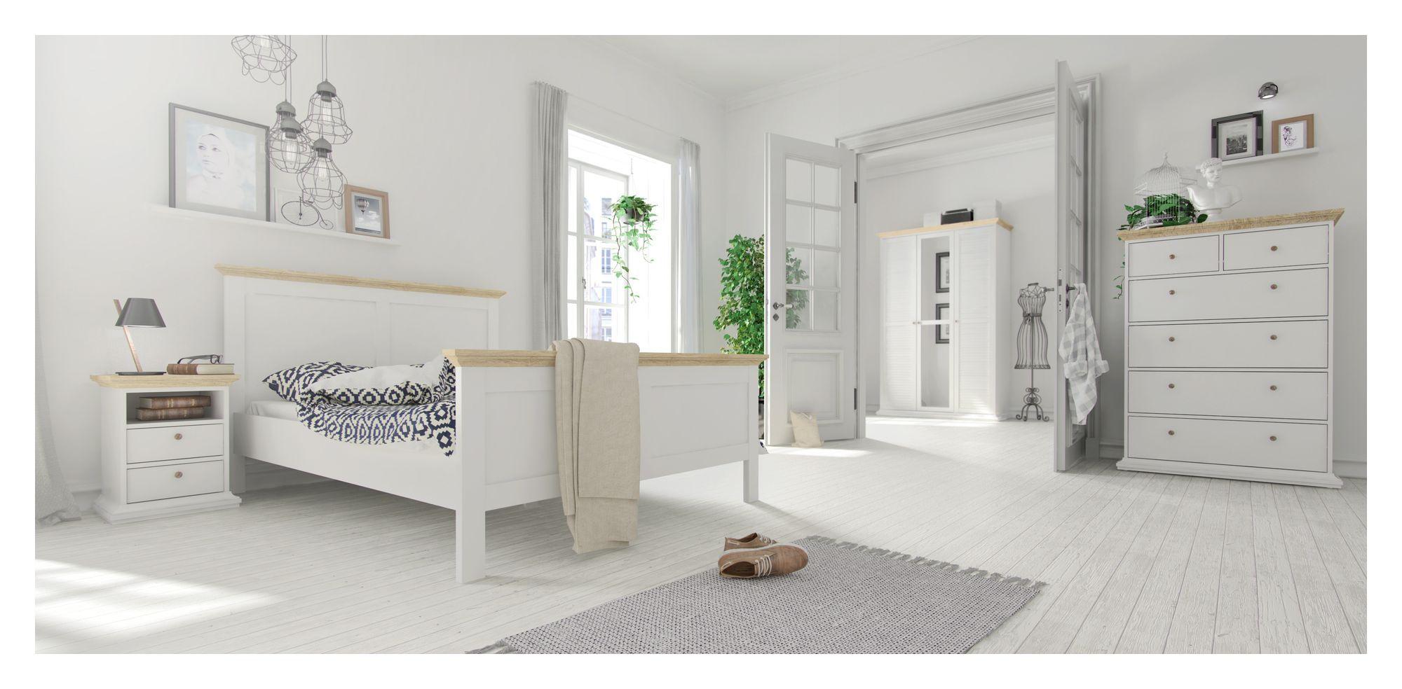 Paris Sengebord - Hvid/Lys træ H:58 - Hvidt sengebord med to skuffer og en hylde