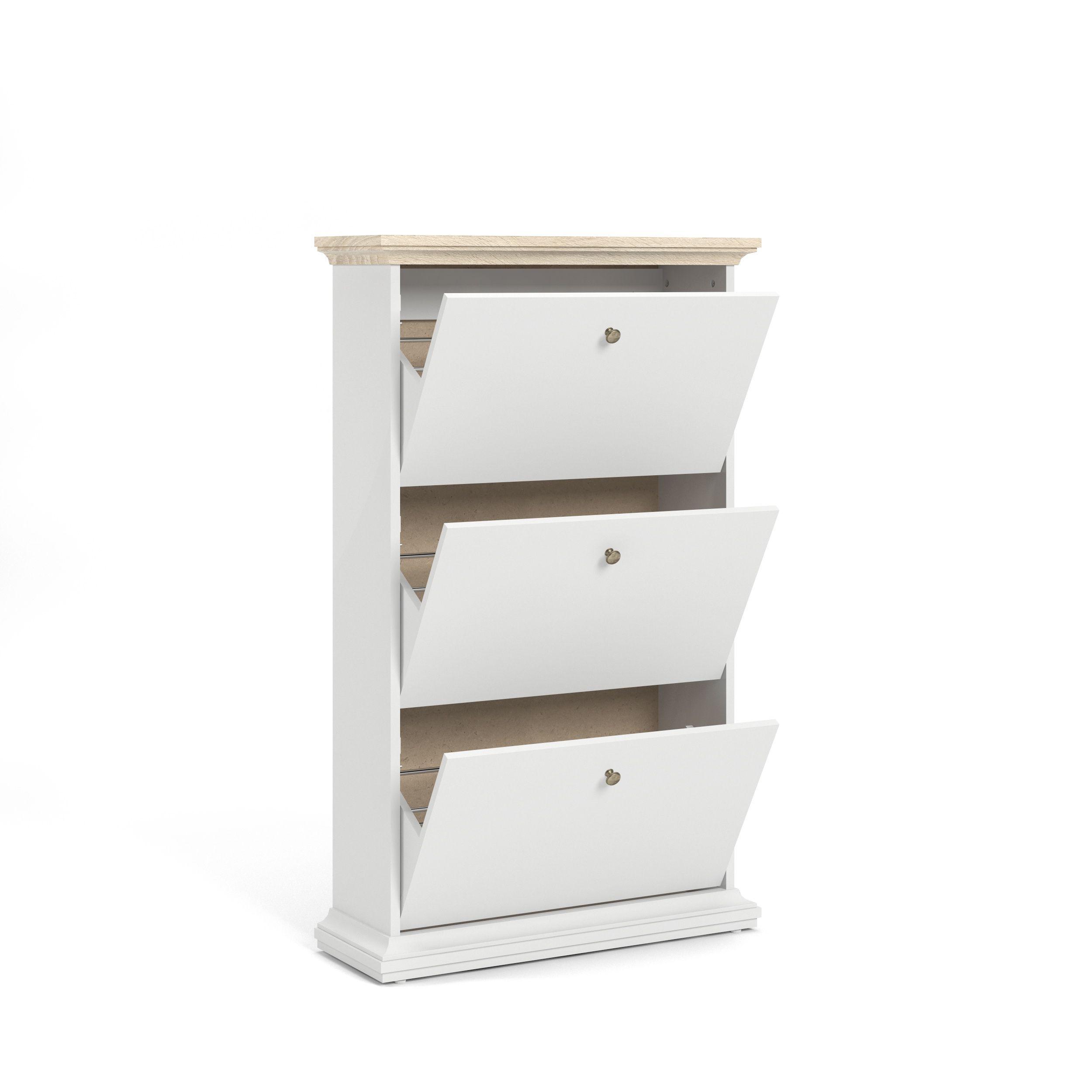 Paris Skoskab - Hvid/Lys træ - Hvidt skoskab med tre låger
