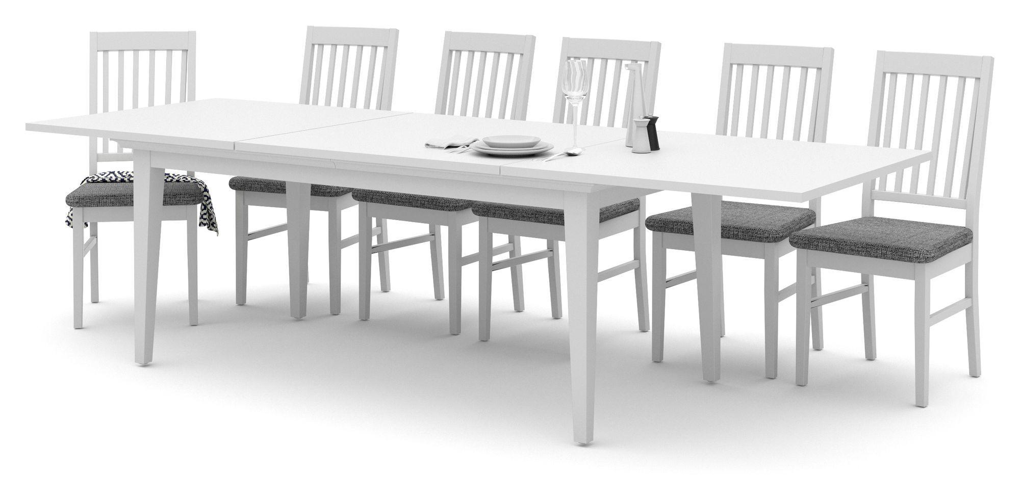 Paris Spisebord Tillægsplade - Hvid - 2 tillægsplader i hvid