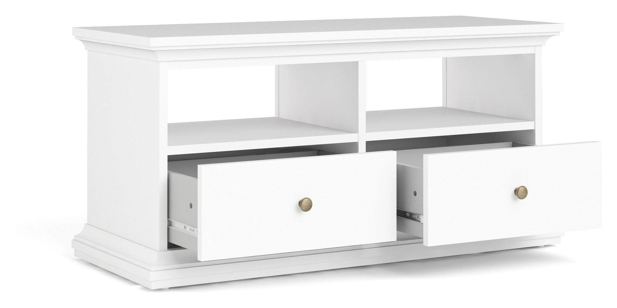 Paris Tvbord - Hvid m/2 skuffer - Enkelt hvidt TV-møbel