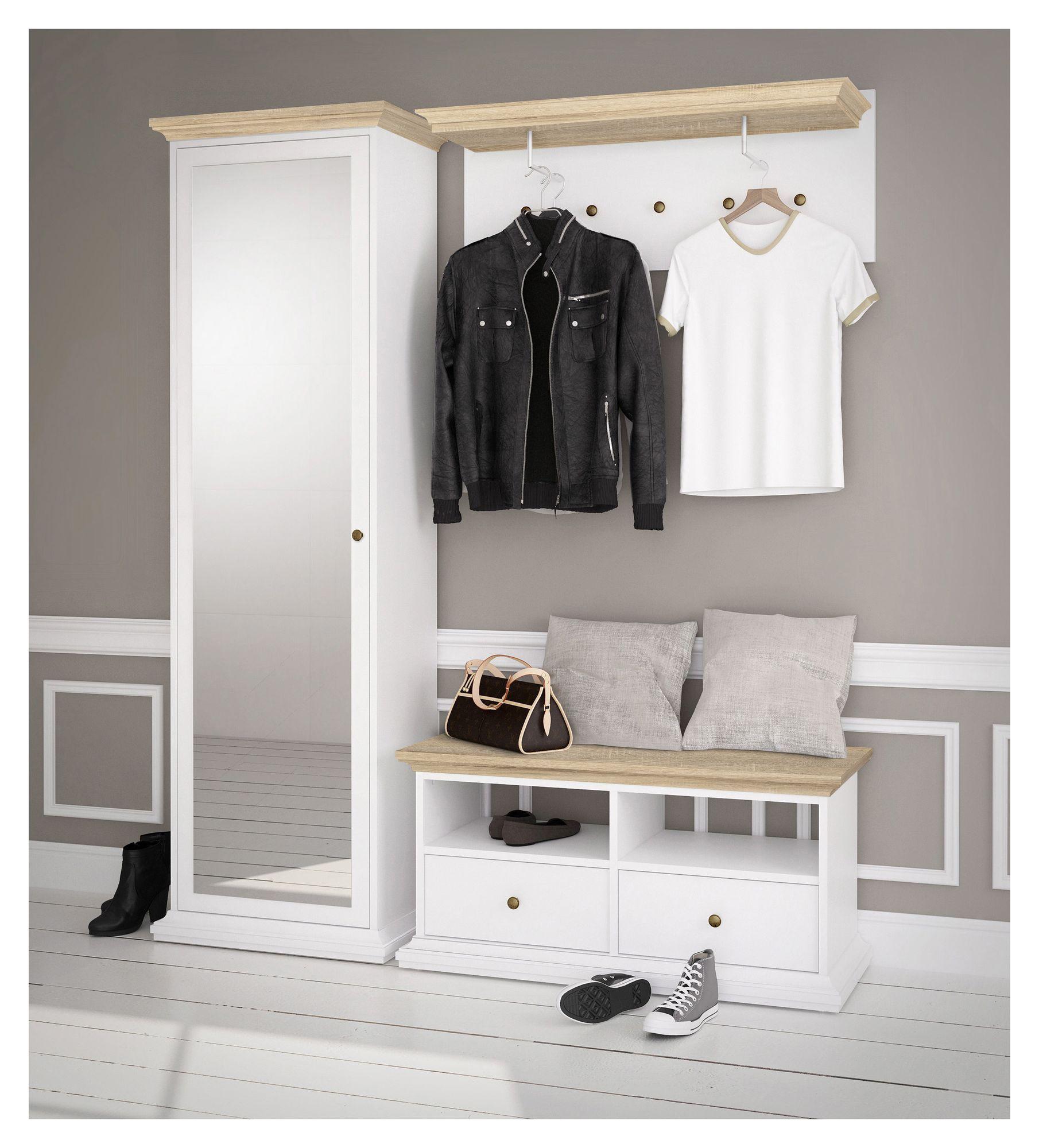 Paris Tvbord - Hvid/Lys træ B:102 - Hvidt TV-bord med 2 skuffer