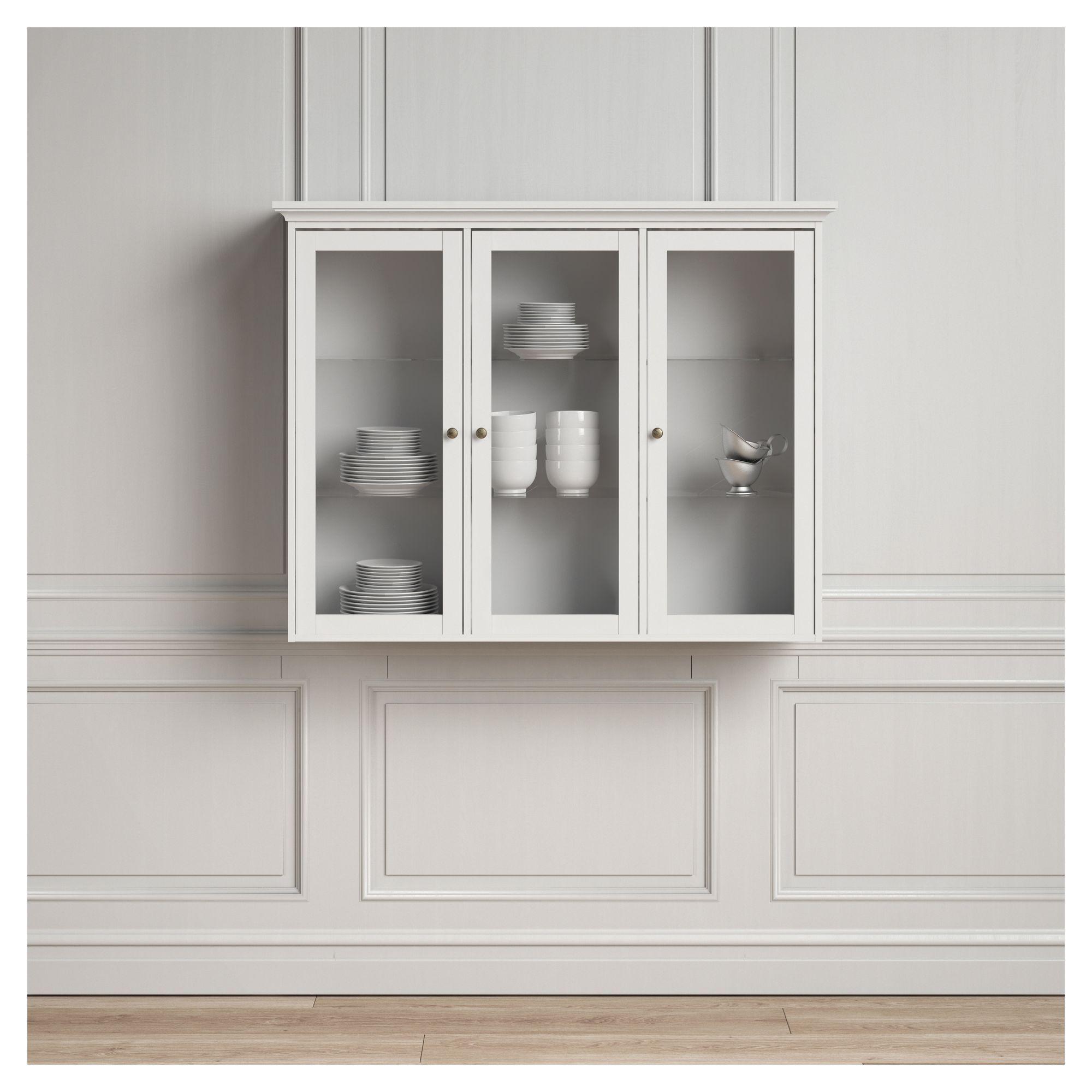 Paris Vægvitrine - Hvid B:143 - Hængemodul med glas låger i hvid