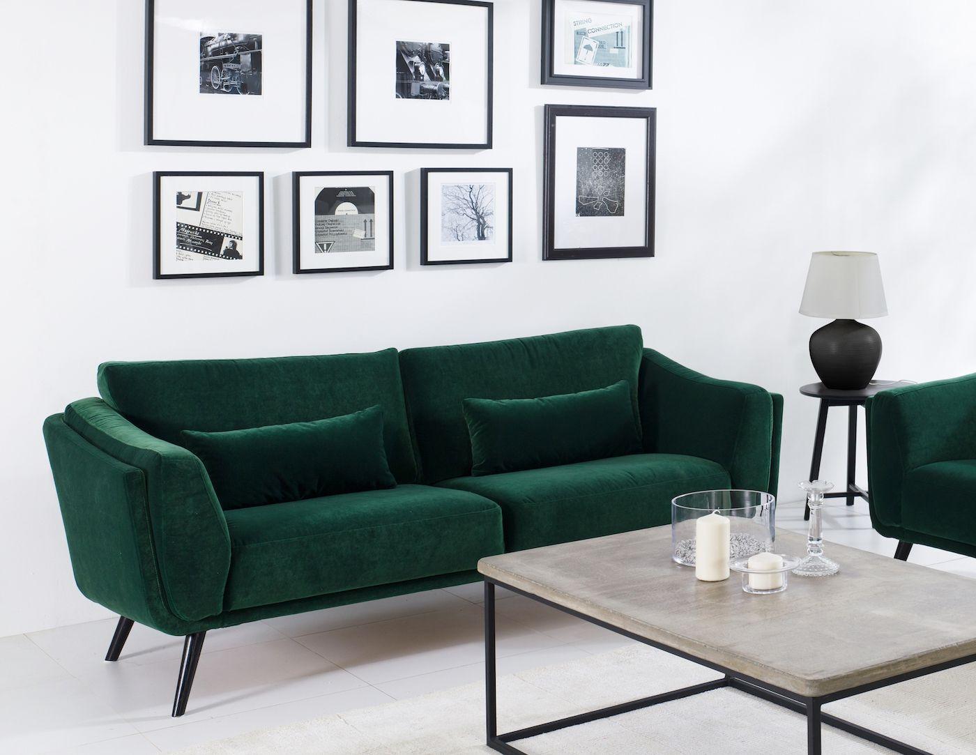 Pelham 3-pers. sofa - Grøn Velour - Sofa i velour