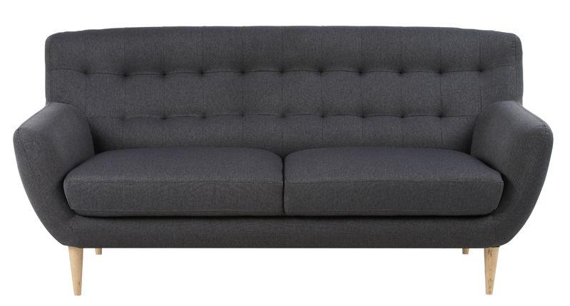 Pitta 3-pers. sofa - Antracit Grå - Stofsofa med træben