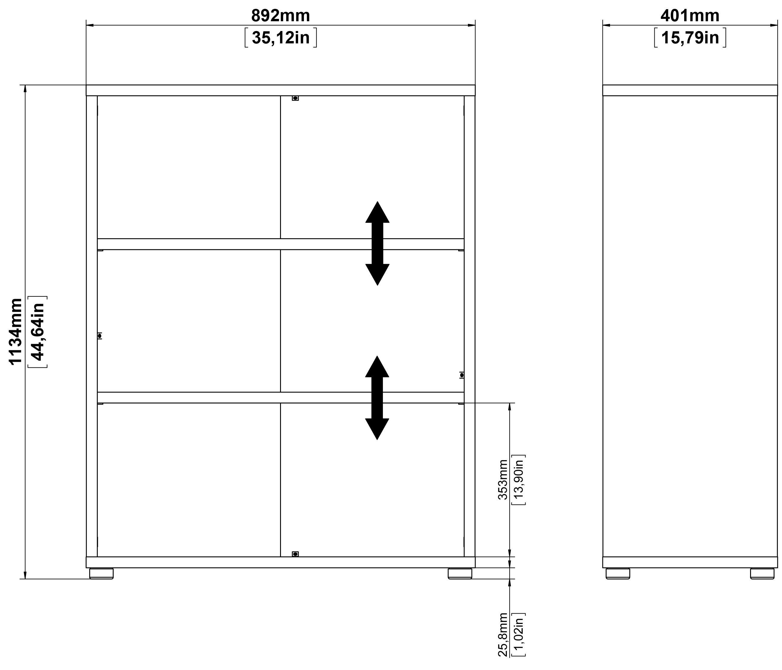 Prima Bogreol - Hvid m/2 hylder - Bogreol i hvid med 2 hylder