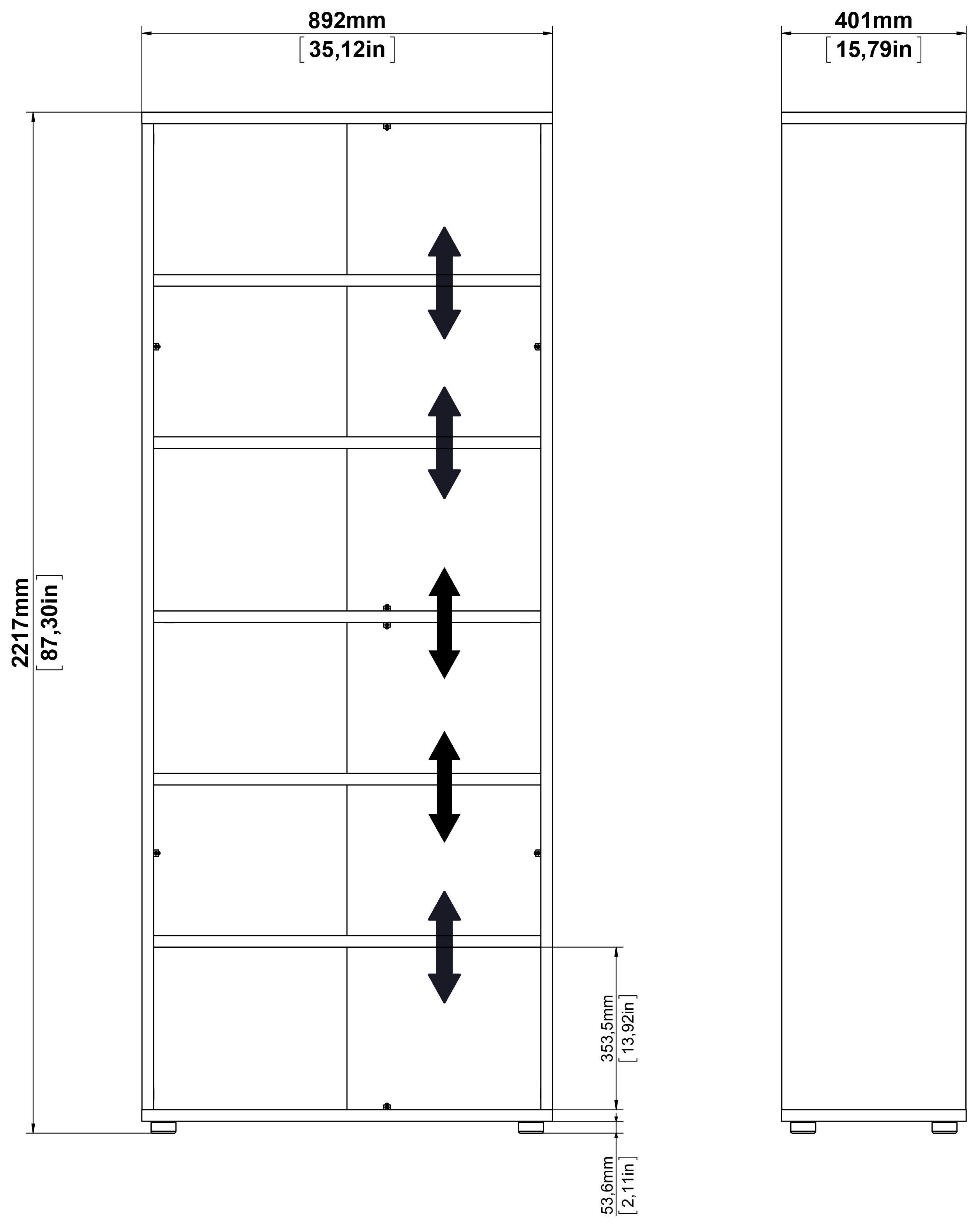 Prima Bogreol - Hvid m/5 hylder - Bogreol i hvid med 5 hylder