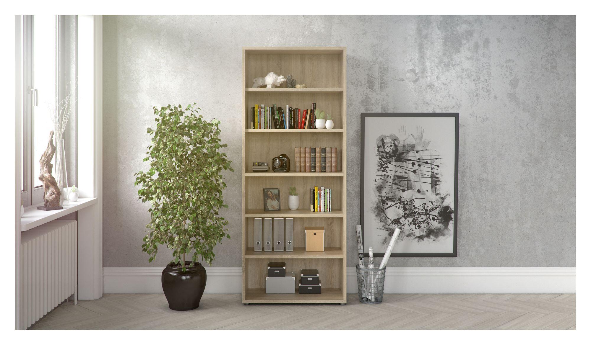 Prima Bogreol - Lys træ/Eg m/5 hylder - Reol i egetræs-look med 5 hylder