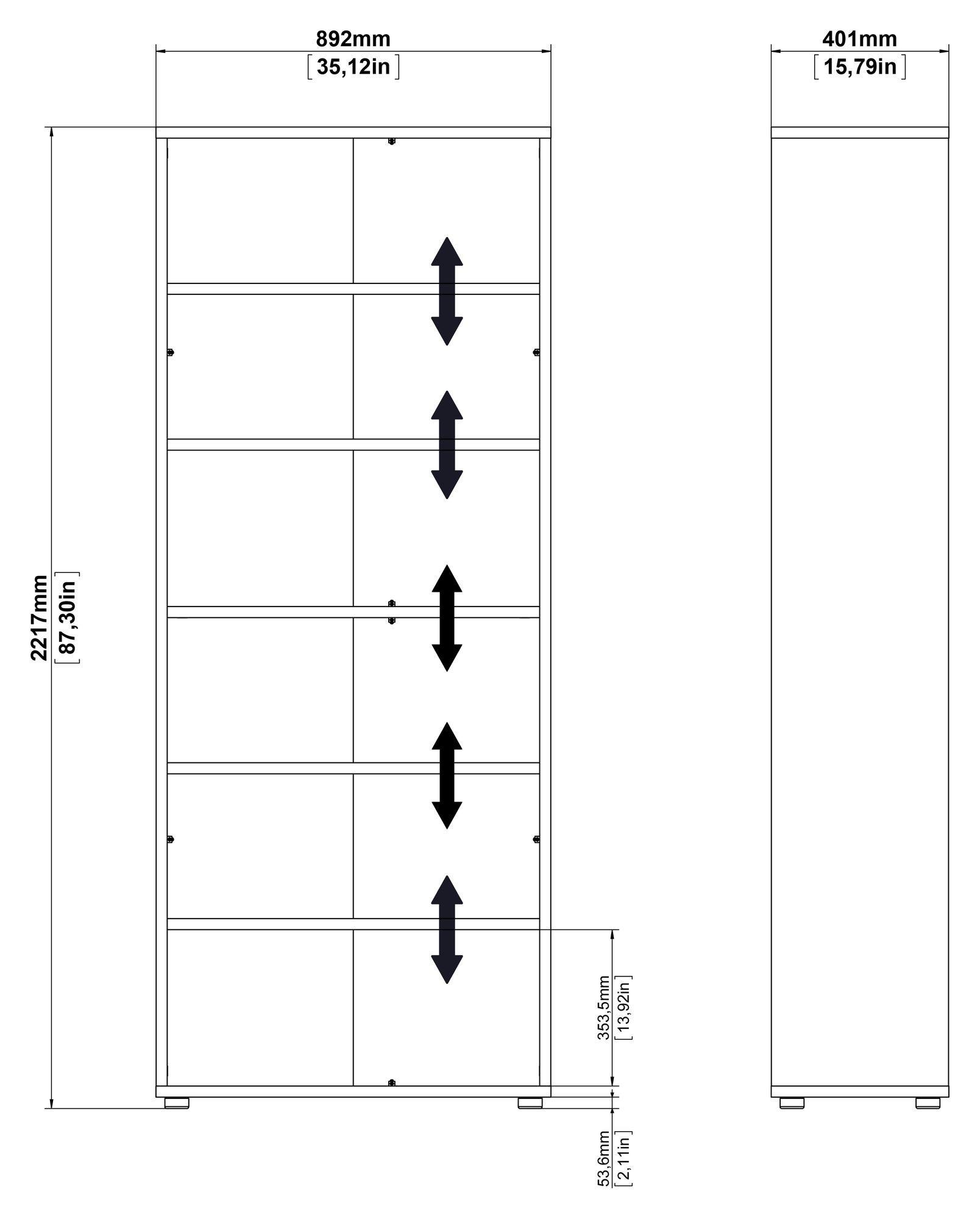 Prima Bogreol - Sort m/5 hylder - Bogreol i sort med 5 hylder