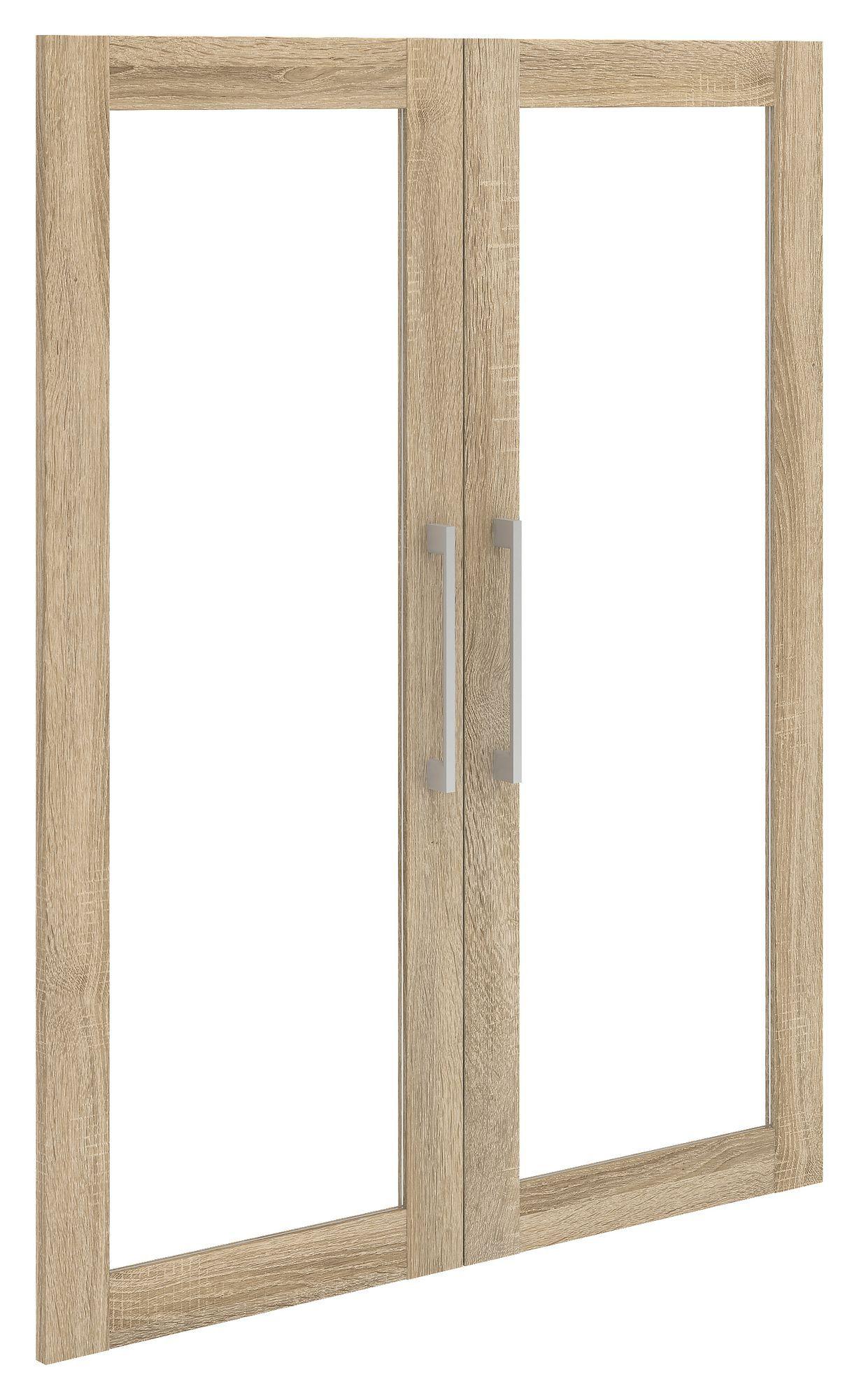 Prima Ekstralåger - 2 stk. Lys træ m/glas - Glasrammelåger til Prima reol