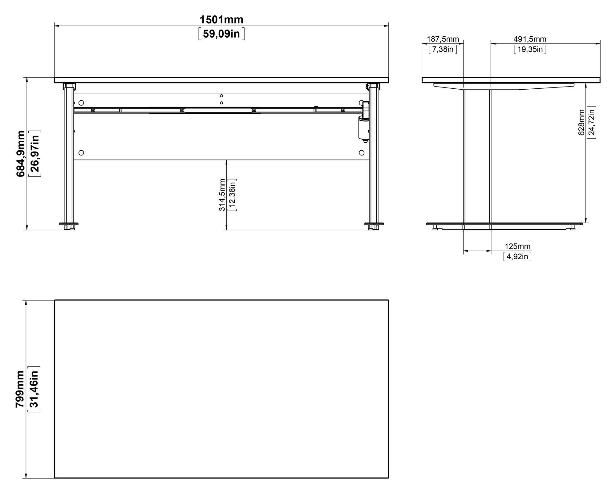 Prima Hæve/sænkebord, Hvid/grå,150cm - Metalstel