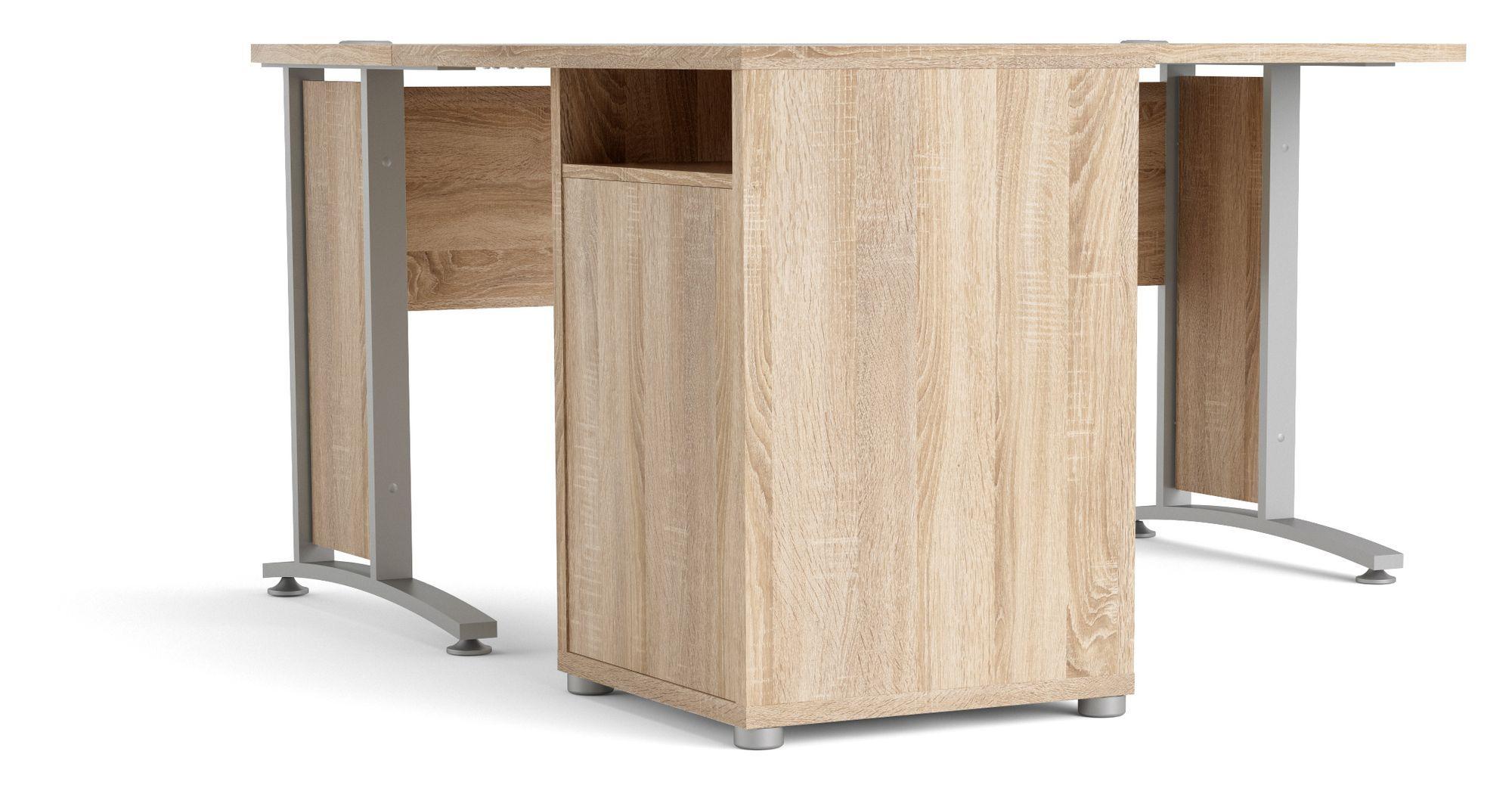 Prima Hjørneskrivebord - Lys træ - Hjørneskrivebord med skuffemodul