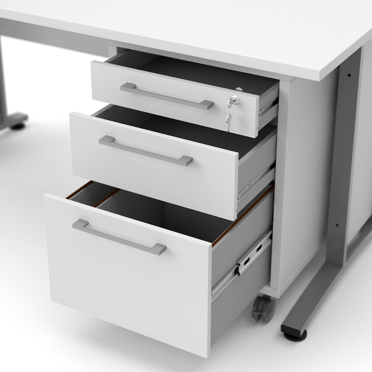 Prima Skrivebord - Hvid m/Skuffemodul - Skrivebord i hvid med et skuffemodul