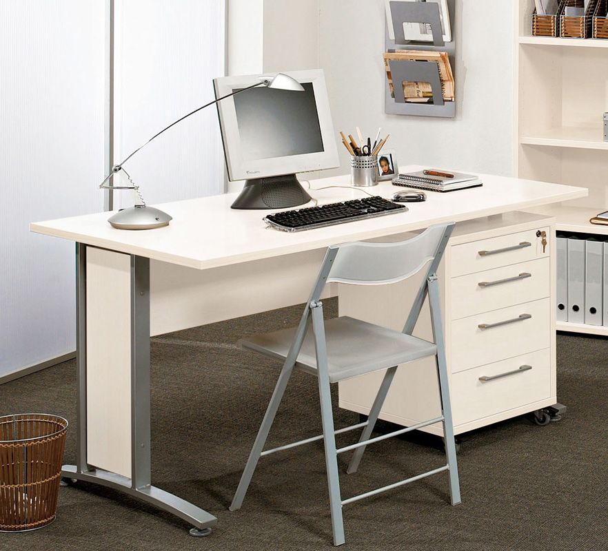 Prima Skrivebord inkl. Skuffemodul - Hvid - Skrivebord med skuffemodul