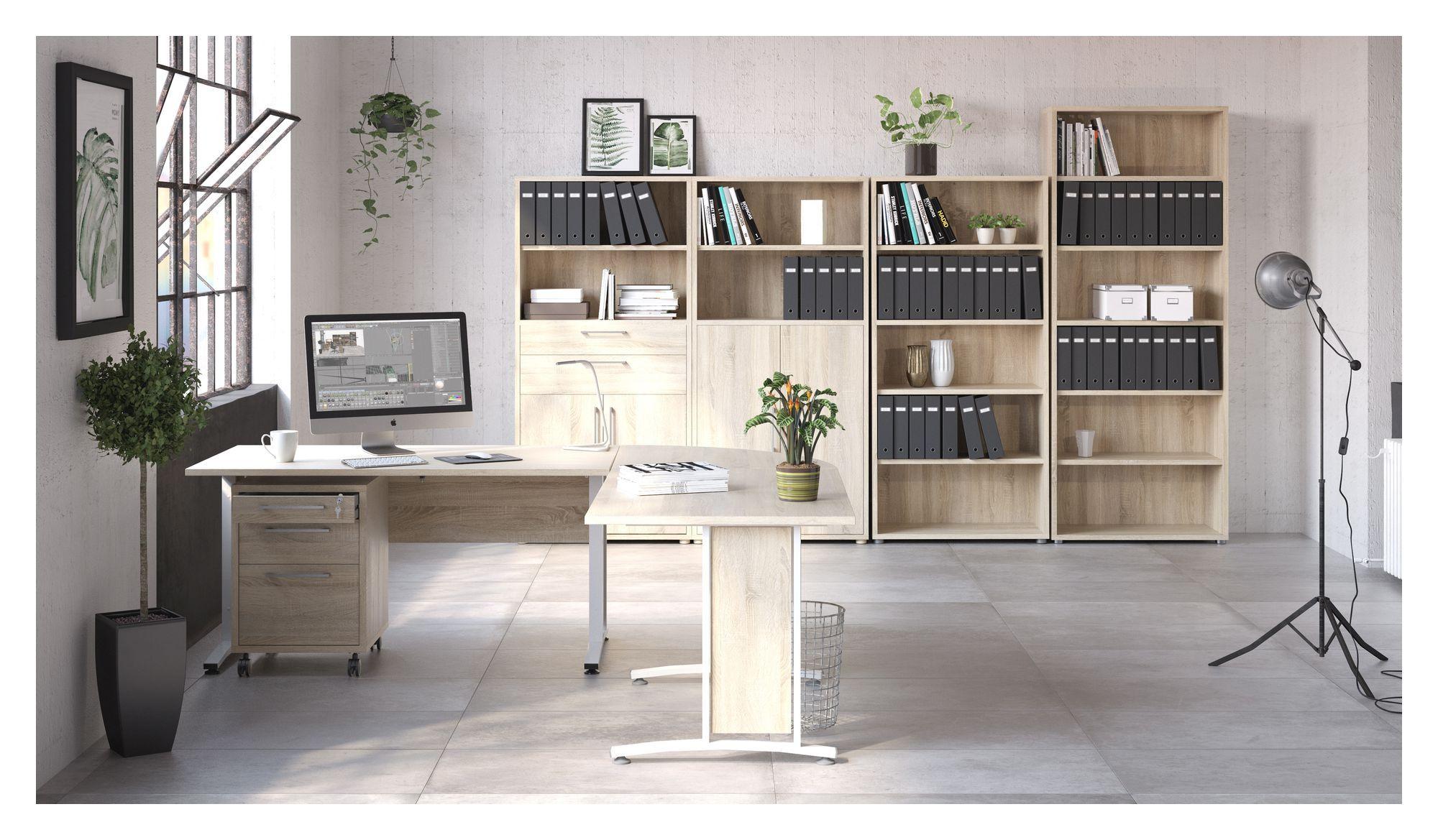 Prima Skrivebord - Lys træ 120cm m/hvide ben - Hvidt skrivebord med hvide ben