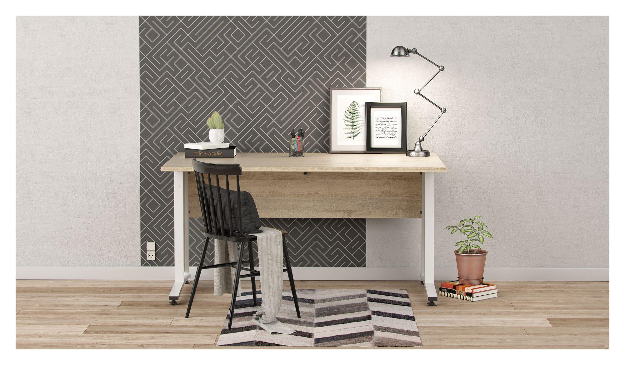 Prima Skrivebord - Lys træ 150cm m/hvide ben - Klassisk skrivebord i egetræslook